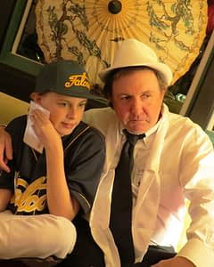 Dad and son in deep detective mode