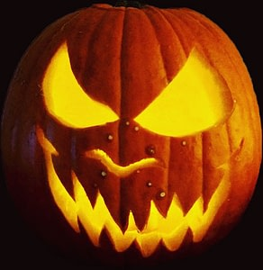 a scary Jack O'Lantern