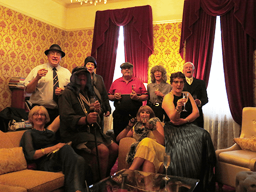 A small party group for a Dickens Christmas Murder Mystery