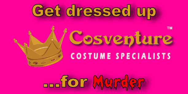 vertical banner for Cosventure, not your average costume shop